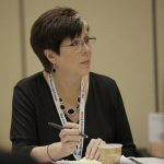 Peggy Albano listens to a presenter at the SASH annual conference.